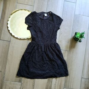 Divided H&M black lace mini dress short sleeve 6